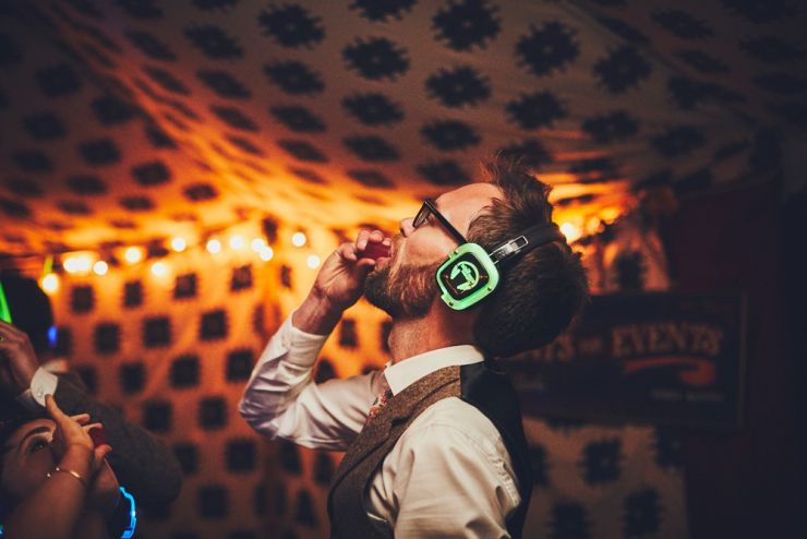 reportage wedding photography of bride and groom's disco at West Town Farm