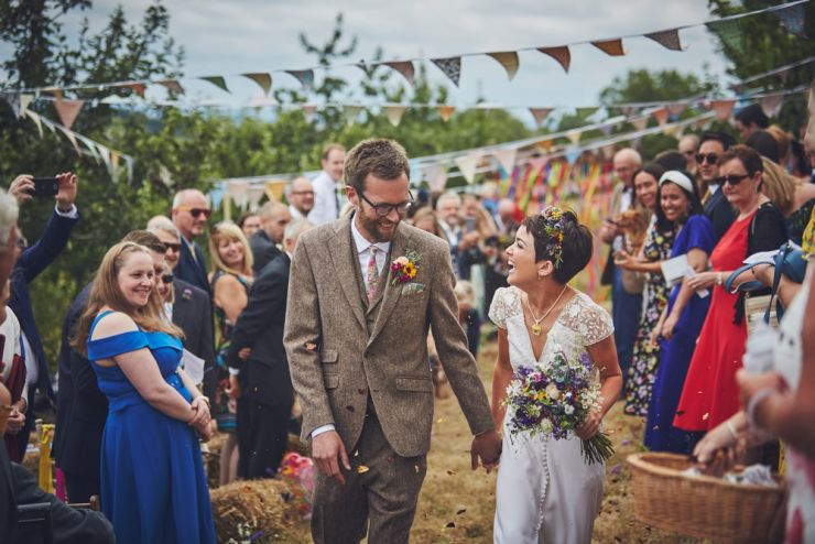 wedding photography of confetti throw at West Town Farm barn wedding photography devon