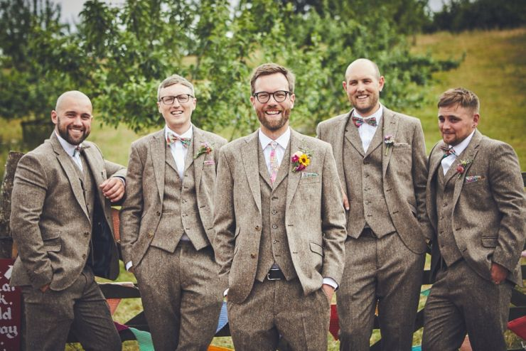 wedding photography of groom and best men at a wedding at West Town Farm in Exeter