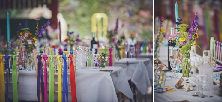 colourful table styling and flowers at West Town Farm barn wedding