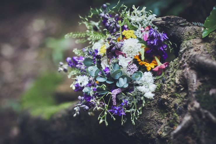 bridal bouquet flowers close up photography at West Town Farm barn wedding in devon