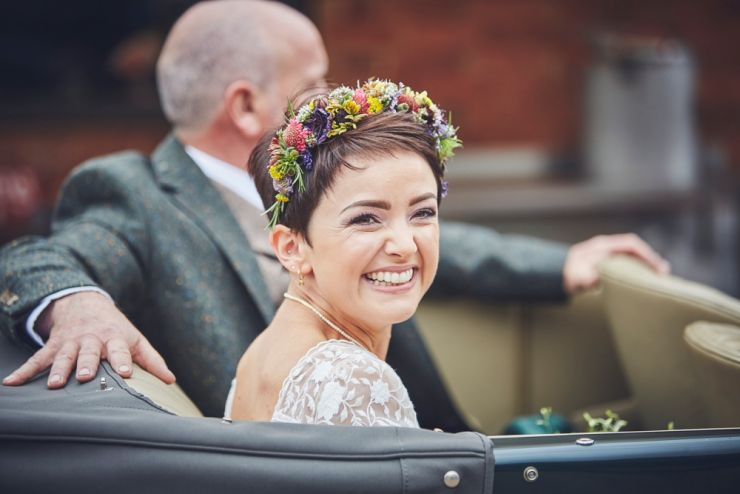 Bride arriving in wedding car to West Town farm Exeter