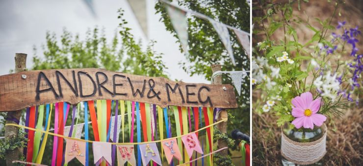 Wedding sign and wild flowers at West Town Farm in Devon