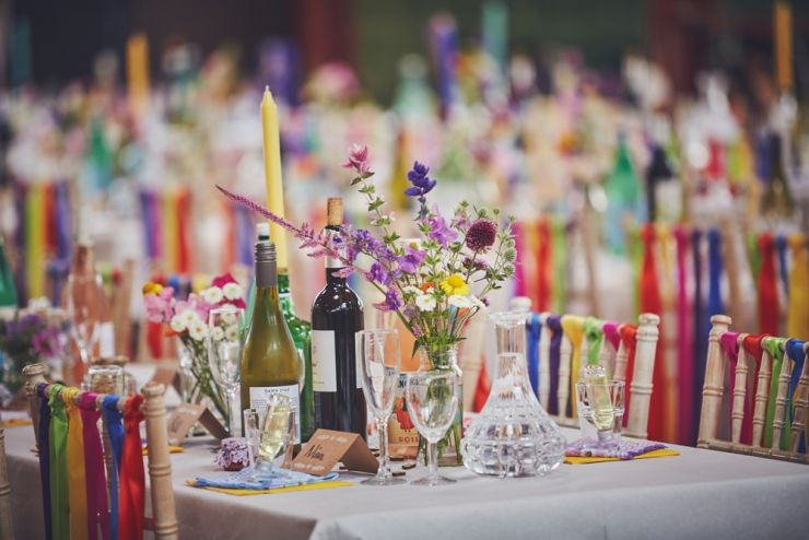 West Town Farm barn wedding colourful table styling
